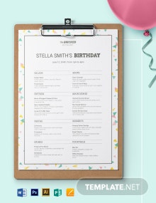 Restaurant Birthday Menu Template