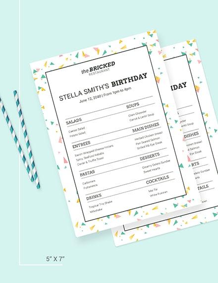 Sample Restaurant Birthday Menu