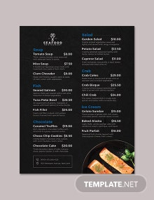 Seafood Flyer Menu Template