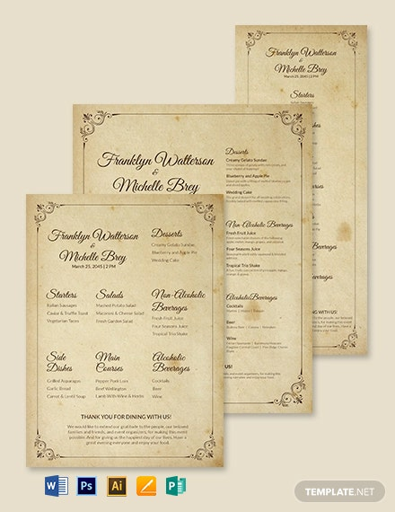 Vintage Wedding Menu Template