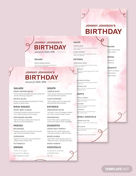Water Color Birthday Menu Template