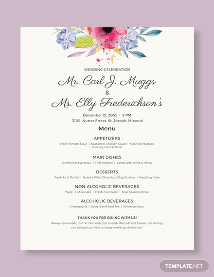 wedding flyer menu
