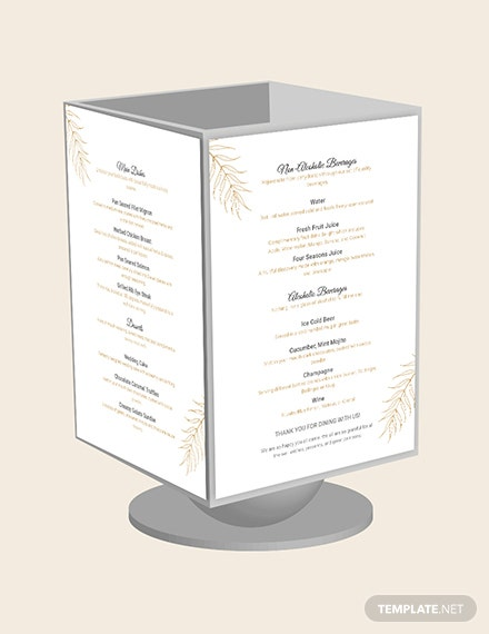 Wedding Table Tent Menu Download