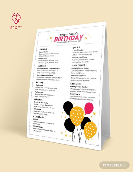 White Birthday Menu Download