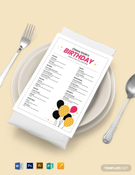 white birthday menu template 1