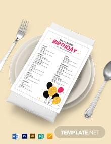 White Birthday Menu Template