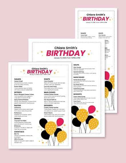 White Birthday Menu Template
