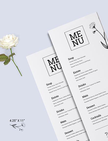 Sample White Wedding Menu