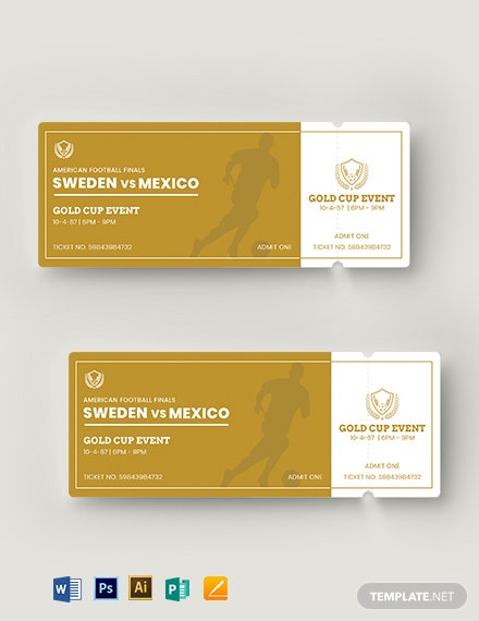 Golden Event Ticket Template