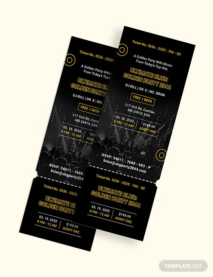 Golden Party Ticket Invitation Download