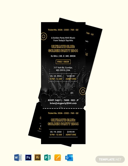 Golden Party Ticket Invitation Template