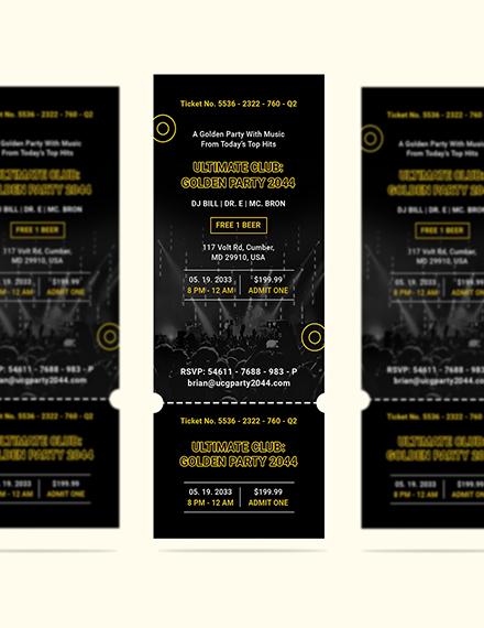 Sample Golden Party Ticket Invitation