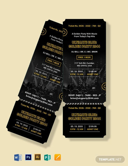 golden party ticket invitation