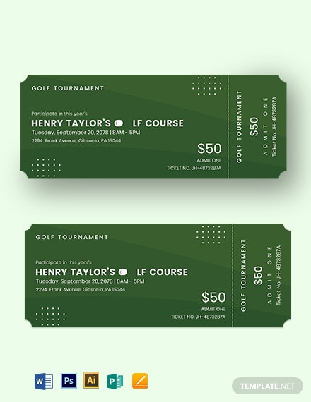 Golf Event Ticket Template