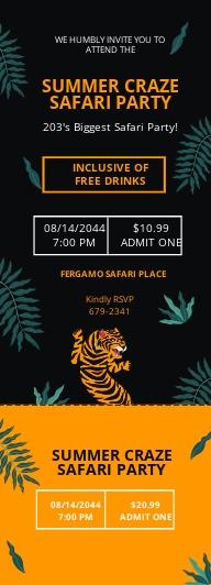 Safari Party Ticket Invitation Template