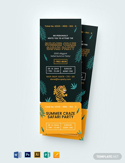 Safari Party Ticket Invitation Template