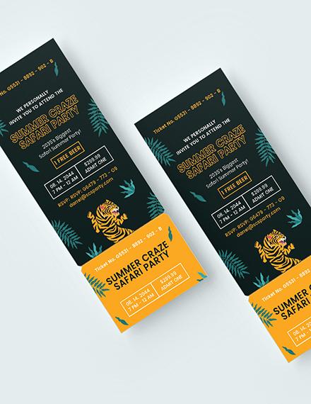 Sample Safari Party Ticket Invitation