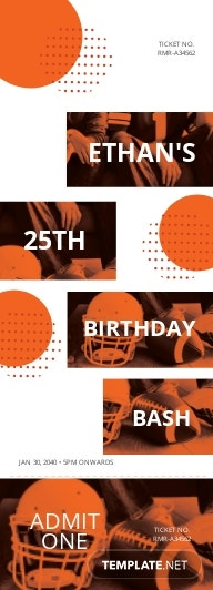 Sports Birthday Ticket Template