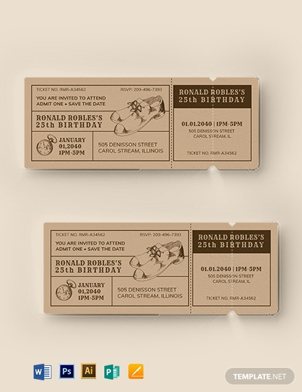 Vintage Birthday Ticket Template