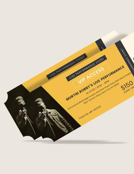 Sample VIP Live Event Ticket