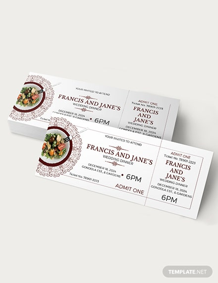 Sample Wedding Dinner Ticket