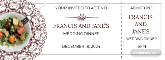 Wedding Dinner Ticket Template