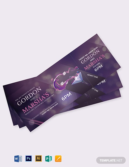 Wedding Drink Ticket Template