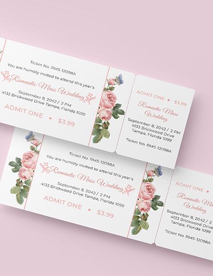 Sample Wedding Event Ticket