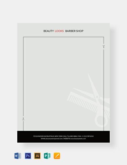 Free Barbershop Letterhead Template