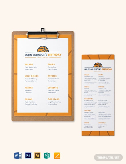 Basketball Birthday Menu Template