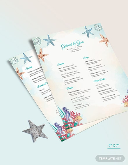 Beach Wedding Menu Download