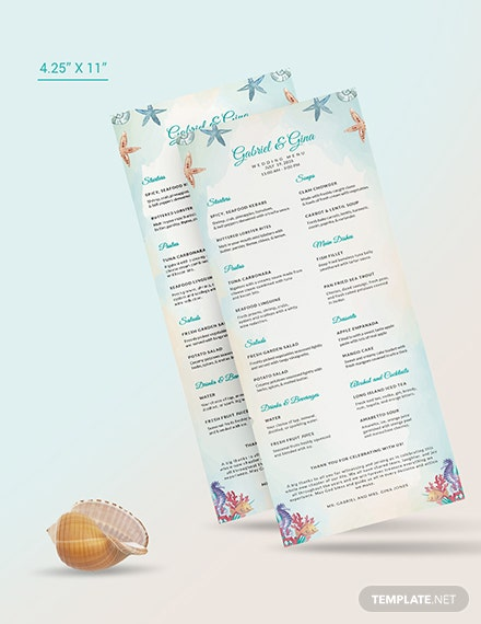 Sample Beach Wedding Menu