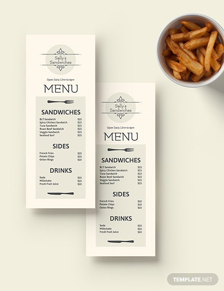 Blank Sandwich-Sub Menu Template [Free PSD] - Illustrator, Word, Apple Pages, Publisher