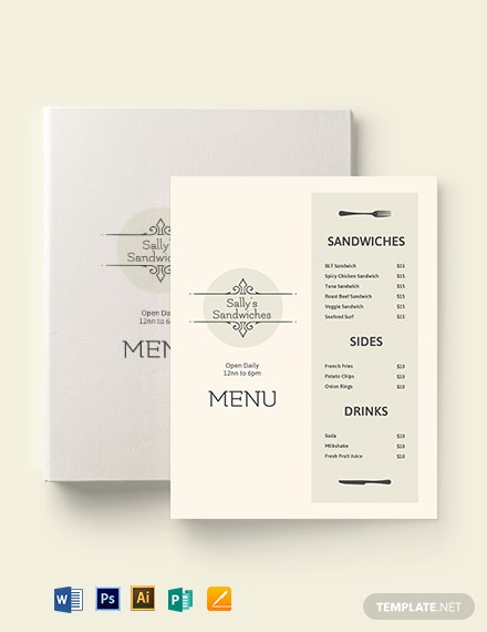 blank sandwich sub menu template