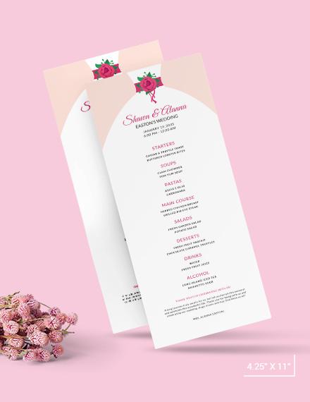 Sample Bride Wedding Menu