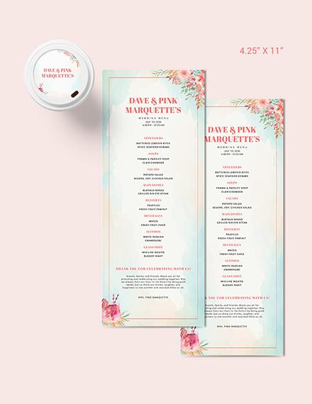 Cocktail Wedding Menu Download