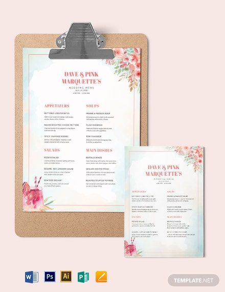 Cocktail Wedding Menu Template