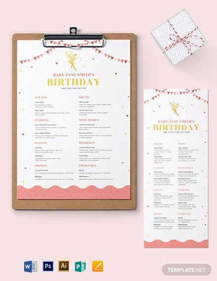 Disney Birthday Menu Template