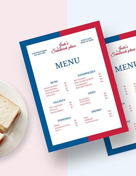 French Sandwich Sub Menu Download
