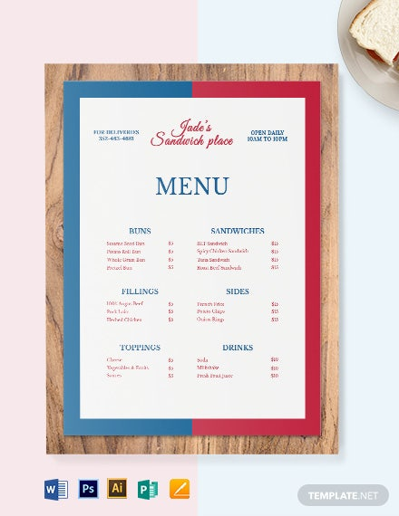 french sandwich sub menu template 1