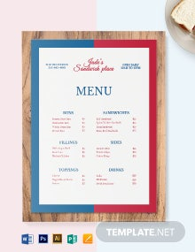 French Sandwich Sub Menu Template
