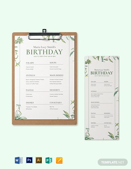 Healthy Birthday Menu Template