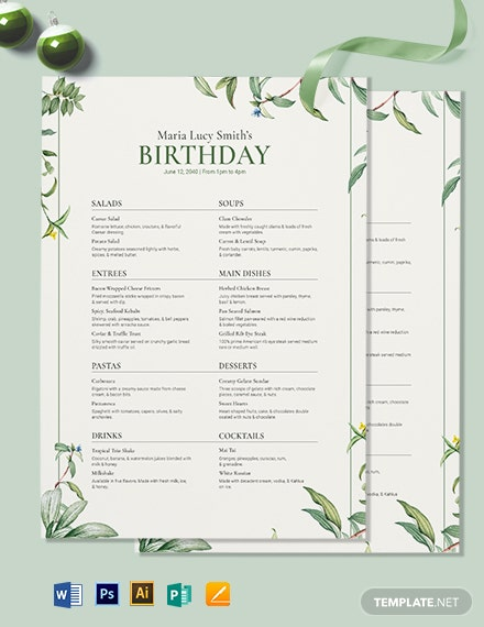 healthy birthday menu template 2