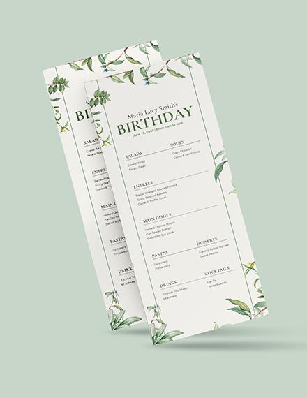 Sample Healthy Birthday Menu