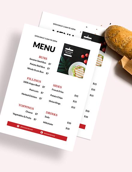 Modern Sandwich Sub Menu Download