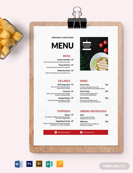 Modern Sandwich- Sub Menu Template