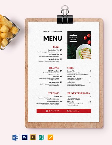 Modern Sandwich- Sub Menu Template