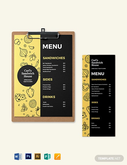 Printable Sandwich- Sub Menu Template