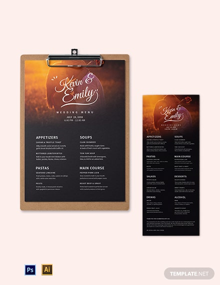Romantic Wedding Menu Template