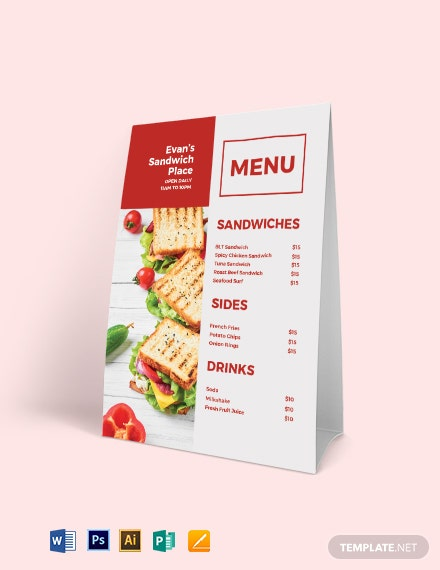download sandwich  sub table tent menu template